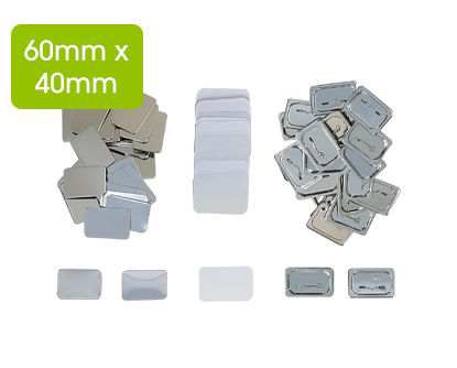 Picture of DIGITOOL Badges with Pin Rectangular 60mm x 40mm (100 pcs)